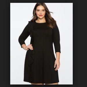 Eloquii Side Ruffle 3/4 Sleeve Black Dress 24 B133